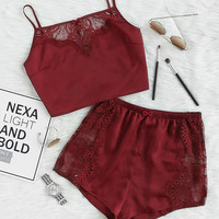 Lace Insert Crop Cami And Shorts Pajama Set -SheIn(Sheinside)