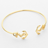 Anchor Double Sided Cuff Bracelet Gold