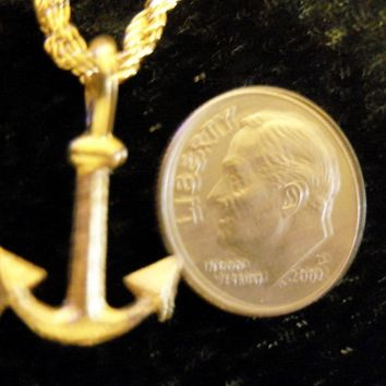bling 14k yellow gold plated navy usn sailboat sailor boat small anchor sailing sign symbol hip hop pendant charm 24 inch rope chain necklace trendy sailor seaman fashion jewelry