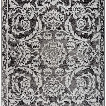 5094 Gray Damask Area Rugs