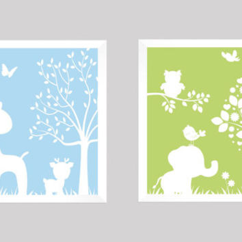 White Baby Blue Green Enchanted Forest Animals CUSTOMIZE YOUR COLORS, 8x10 Prints, set of 2, nursery decor nursery print art baby room decor