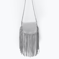 FRINGED LEATHER MESSENGER BAG WITH CHAIN New