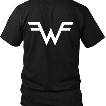 Weezer Logo Classic 2 Sided Black Mens T Shirt