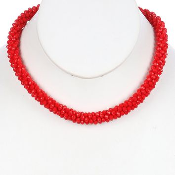 Red Iridescent Micro Bead Crocheted Rope Necklace