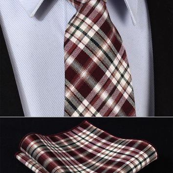Burgundy Brown Plaid 100%Cotton  Necktie Pocket Square