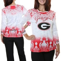 Georgia Bulldogs Women's Three-Quarter Sleeve Dip Dye T-Shirt | UGA Dip Dye T-Shirt | UGA Long Sleeve T-Shirt