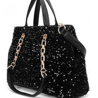 Black Color Flash Chip Handbag [805]