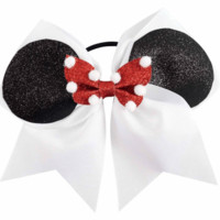 7 Inch Minnie Cheer bow With Red and White Polka dot bow