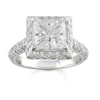 Ladies 14kt white gold pave diamond engagement ring with 2ct (7mm) Princess cut white sapphire center and 1 ctw of G-VS2 pave-set diamonds