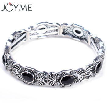 2016 New Fashion Women Vintage Strand Charm Bracelet Bohemian Jewelry Antique Silver Bijoux Femme Brazil Adjustable Bangles