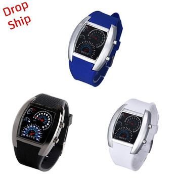 Fashion Aviation Turbo Dial Flash LED Watch Gift Mens Lady Sports Car Meter DROP SHIPPING J26f30