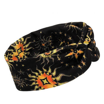 Black Knot Headband with Sun and Star Print