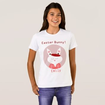 Custom Name Easter Bunny Girls' Crew T-Shirt