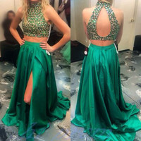 Two Piece Prom Dresses,Green Prom Dress,Long Evening Dress