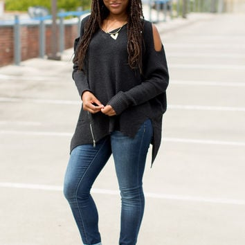 Little More Time Cold Shoulder Sweater