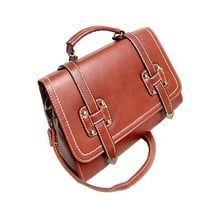 Retro Solid Color Handbag Shoulder Messenger Bag