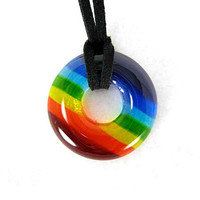 Rainbow Glass Donut Pendant Necklace