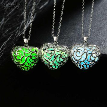 Women Glowing Luminous Stone Vintage Necklaces Hollow Flower Heart Pendant Necklace Glow In The Dark Link Chain Necklace Gifts