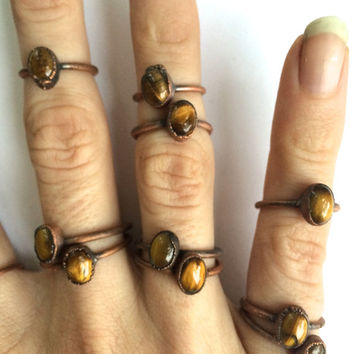 Tigerseye ring | Simple tiger eye stacking ring | Tiny tigers eye stacking ring | Electroformed tigerseye jewelry | Organic stone jewelry