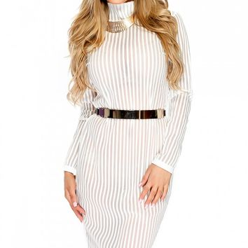 Sexy White Striped Sheer Long Sleeve Mock Neck Casual Dress