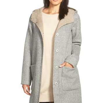 Women's Eileen Fisher Hooded Double Face Alpaca Blend Coat,