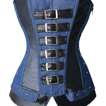 Sexy Gothic Steampunk Overbust Corset Faux Leather and Denim Jean Bustiers Top zipper side Plus Size S-2XL