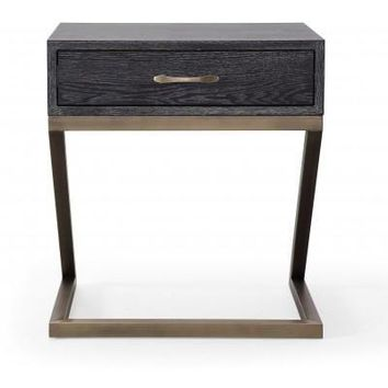 Mason Side Table / Nightstand Black With Brushed Gold Base