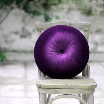 Purple velvet round pillow 16""