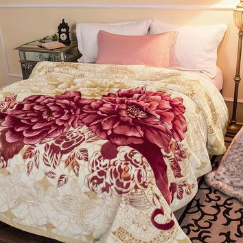 ARNIGU Red Peony Flower print super soft Plaids 200x230cm Double face Thick Blanket Winter Throw or comforter warm Bed sheet