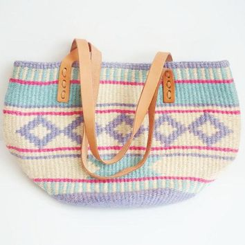 Vintage Jute Tribal Print Handbag Pastel Colors Genuine Leather Straps Canvas Interior Market Tote Woven Aztec Hipster Southwestern