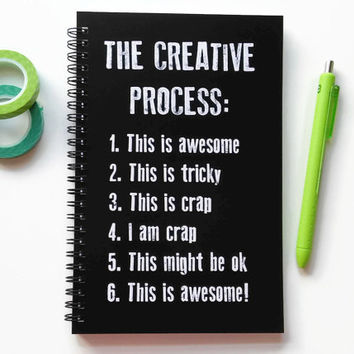 Writing journal, spiral notebook, bullet journal, black white, sketchbook, diary, blank lined or grid paper - The Creative Process