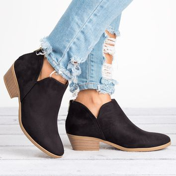 Side Cutout Booties - Black