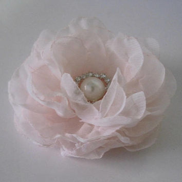 Romantic Blush Pink Chiffon Hair Clip Bridal Bride Bridesmaid Mother of the Bride with Pearl and Rhinestone Accent Hair Accessories Bridal