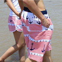 Anchor Print Couples Beach Shorts Beachwear Swimming Trunks