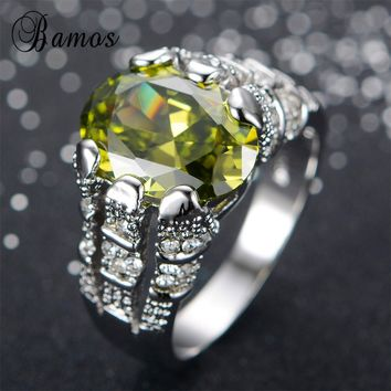 Bamos Fashion Male Peridot Ring High Quality 925 Sterling Silver Filled Jewelry Vintage Wedding Rings For Men