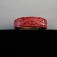 Now On Sale Antique Hand Carved Genuine Cinnabar & Brass Bracelet - Vintage Floral Design Jewelry 1940's