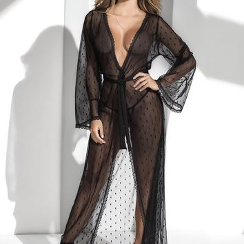 Sexy Long Lace Robe G-String Set