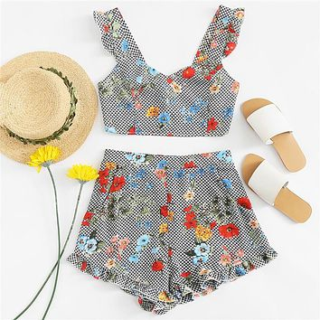 GINGHAM FLORAL SHORTS SET