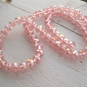 Swarovski Crystal Bead Strand - full strand - 6mm by 8mm rondelle style, rose or pink AB, beautiful color and shine, jewelry supply, beads