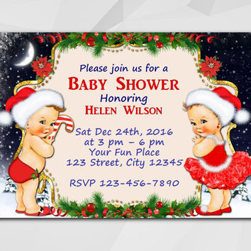 Christmas Baby Shower invitation,  Vintage Babies Boy and Girl. Editable PDF, Instant Download.