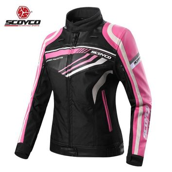 Trendy Motorcycle Jackets Women Jerseys Moto Female Clothes CE Protector Waterproof Motobike Motocross Racing Protective Protection AT_94_13
