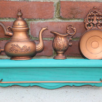 Vintage Towel Rod, Turquoise and Copper, Teapot Wall Decor, Coppercraft Dart Industries