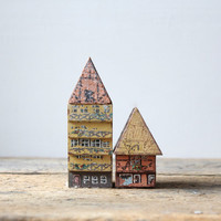 Vintage Pair Wooden Houses