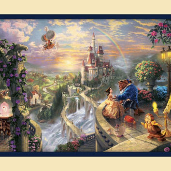 Double Matted Thomas Kinkade Disney Beauty and the Beast Ariel  Art Print 11 x 14 overall 8 x 12 image 100% Gaurantee FREE SHIP