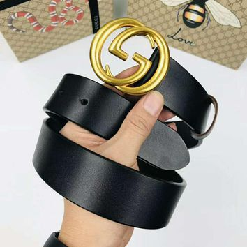 GUCCI Fashionable Men Women Casual Double G Golden Smooth Buckle Belt Leather Belt