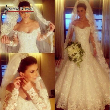 Stunning Luxury Full Beading Long Sleeve 2015 Wedding Dress In Dubai NS651