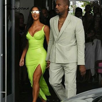 Tobinoone Kim Kardashian Summer Dress Women Sexy Backless Nightclub Party Maxi Dress Split Bodycon super bright neon outfits
