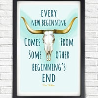 Retro Vintage Cow Skull // Every New Beginning Typographic Semisonic Lyrics // Turquoise Inspirational Southwestern Art Poster Print