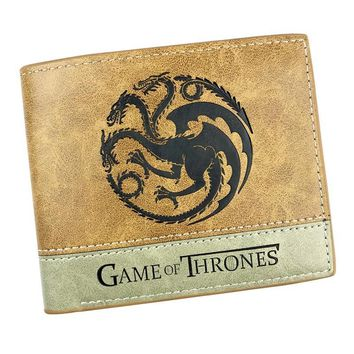 0a06464355ae Casual Leather Embossing LOGO Purse Anime Game of Thrones Wallets Gift  Teenager Men Women Card Holder