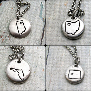 Personalized State Necklace - Hand Stamped Jewelry - Personalized Necklace - Map Necklace - Custom Jewelry - Stamped Metal Pewter Necklace